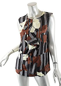 Marni Winter Edition Ruffle Striped Top black, grey, wine, yellow