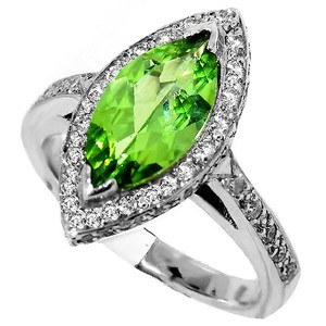 ABC Jewelry 2.90cttgw Diamond & Marquise Peridot Ring In 18kt White Gold