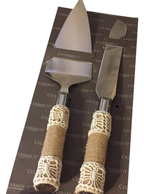 Item - Brown and Silver Cake Knife Set - Rustic Theme Ceremony Decoration