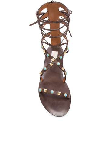 Valentino Rockstud Gladiator Flats BROWN CACAO Sandals Image 1