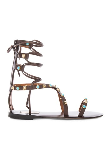 Valentino Rockstud Gladiator Flats BROWN CACAO Sandals Image 2