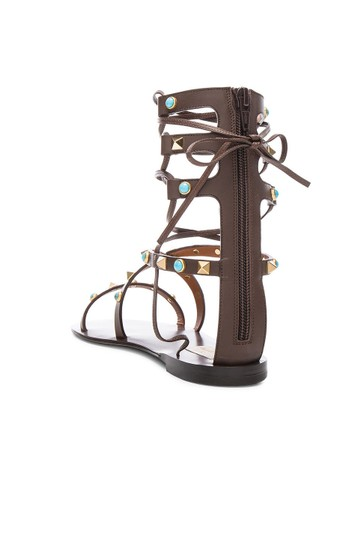 Valentino Rockstud Gladiator Flats BROWN CACAO Sandals Image 5