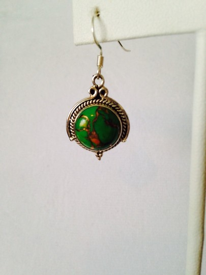 Other Green Mojave Copper Turquoise & Sterling Silver Earrings Image 1
