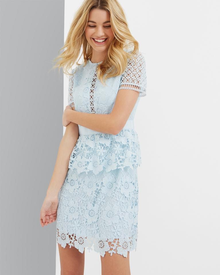 Ted Baker Baby Blue New Dixa Layered Lace Ted3 Short