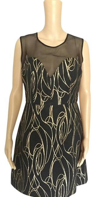 Preload https://img-static.tradesy.com/item/21528432/milly-black-gold-cocktail-dress-size-8-m-0-1-650-650.jpg