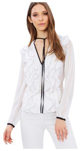 Other Ruffle Top White & Black