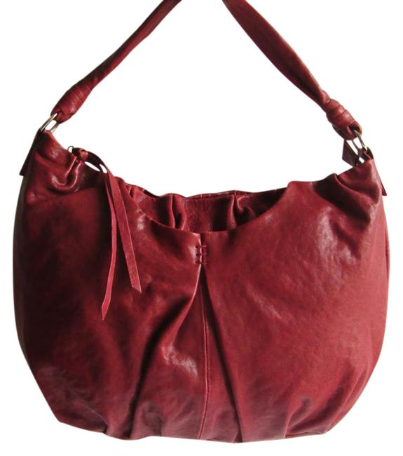 "Item - ""Lola"" Garnet Medium Style Handbag Red Leather Hobo Bag"