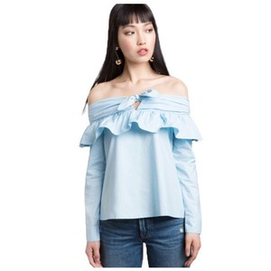 Other Open Shoulder Ruffle Top Blue