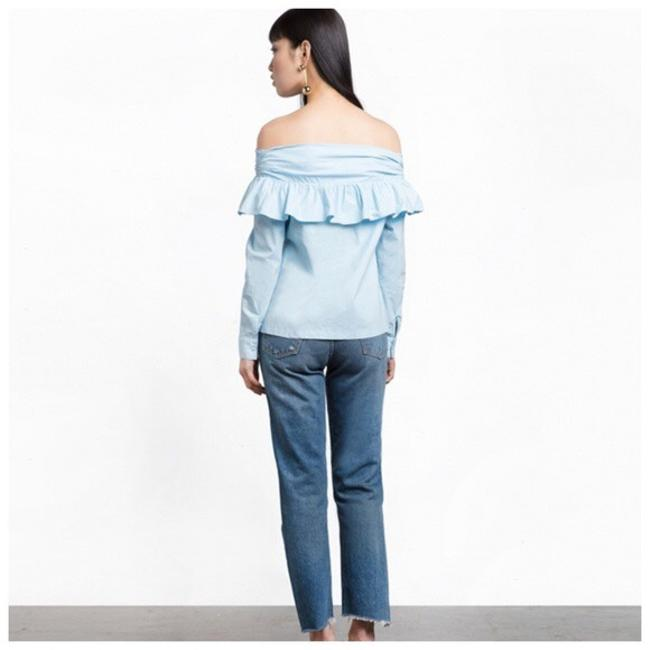Other Open Shoulder Ruffle Top Blue Image 2