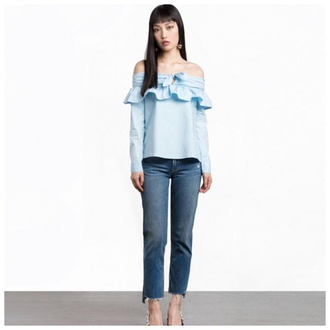 Other Open Shoulder Ruffle Top Blue Image 3