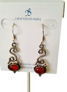 JS Collections Carnelian Gemstone In Sterling Silver Dangle Earrings