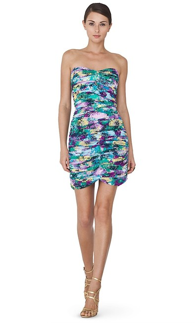 BCBGMAXAZRIA Green Purple Yellow Ruched Sweetheart Print Mesh Bodycon Short Night Out Dress Size 8 (M) BCBGMAXAZRIA Green Purple Yellow Ruched Sweetheart Print Mesh Bodycon Short Night Out Dress Size 8 (M) Image 1