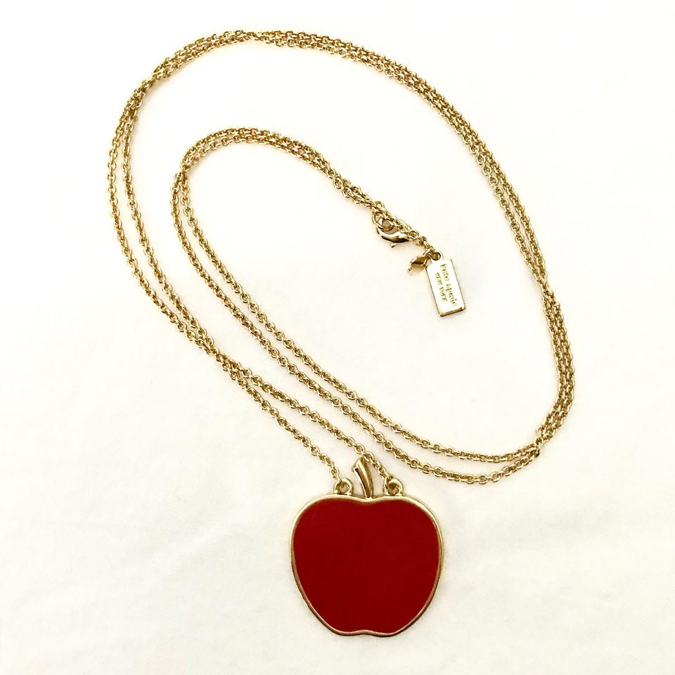 Kate spade red gold apple pendant long necklace tradesy kate spade apple pendant long necklace aloadofball Image collections