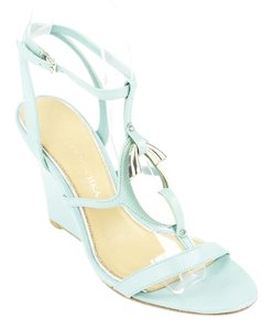 Badgley Mischka Womens Open Toe Ankle Strap Blue Wedges