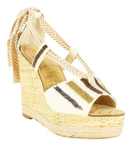 Sam Edelman Open Toe Beaded Metallic Ankle Strap Women Beige Wedges