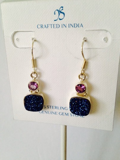 JS Collections Blue Drusy & Faceted Amethyst Dangle Earrings