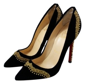Christian Louboutin Bengali Velvet Beaded Gold Embellished Pointed Toe Pony Hair Leopard Animal Print Black Pumps