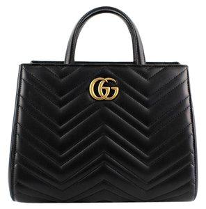 Gucci Tote Leather Satchel in Black