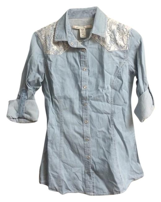 American Rag Button Down Shirt Faded Denim