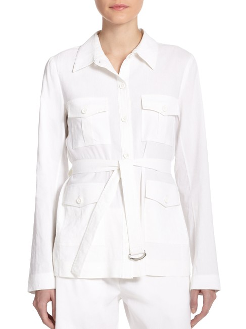 Theory Cotton Button Down Shirt White Image 1