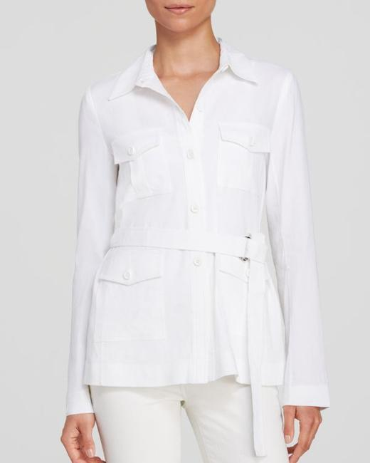 Theory Cotton Button Down Shirt White Image 2