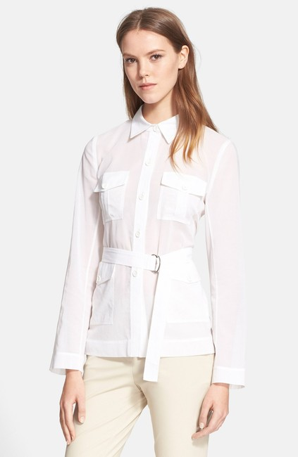 Theory Cotton Button Down Shirt White Image 3