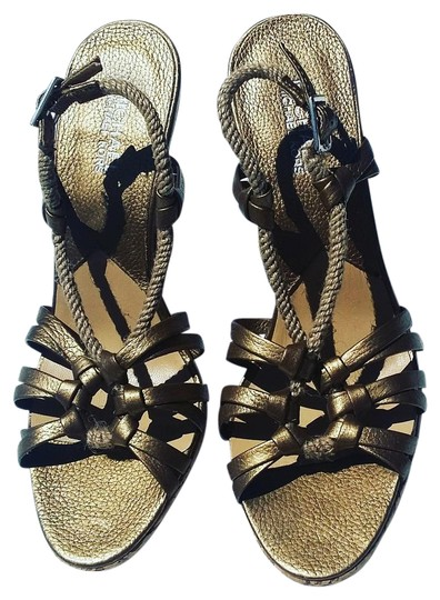 Michael Kors Metallic Rope Corkscrew Limited Edition Bronze Sandals Image 0