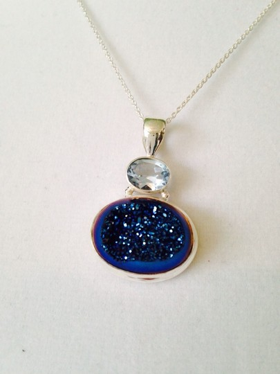 JS Collections Blue Drusy & Sky Blue Topaz In Sterling Silver Necklace