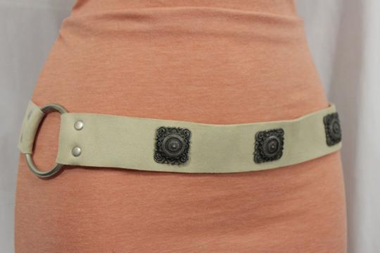 alwaystyle4you Women Tie Belt Off White Ethnic Charms Hip High Waist Genuine Suede Image 2