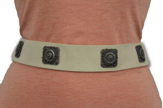 alwaystyle4you Women Tie Belt Off White Ethnic Charms Hip High Waist Genuine Suede Image 3