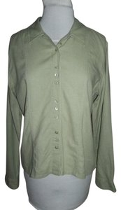 Christopher & Banks Size Small Plackets Long Sleeve Button Down Shirt Moss green