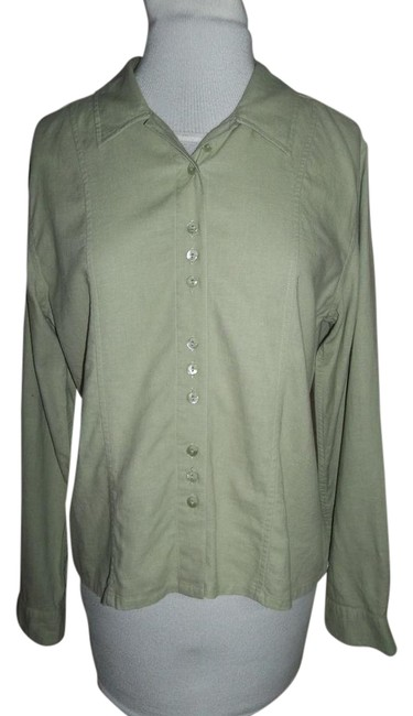 Preload https://img-static.tradesy.com/item/21529852/christopher-and-banks-moss-green-blouse-button-down-top-size-6-s-0-1-650-650.jpg