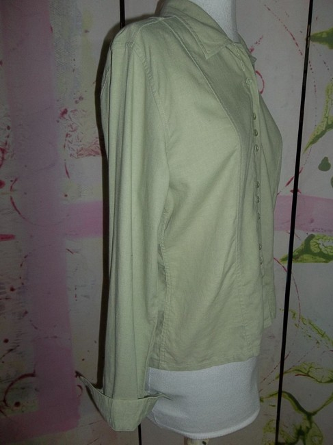 Christopher & Banks Size Small Plackets Long Sleeve Button Down Shirt Moss green Image 2