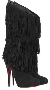 Christian Louboutin High Heels Over Knee Suede Black Boots