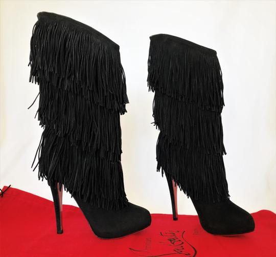 Christian Louboutin High Heels Over Knee Suede Black Boots Image 1