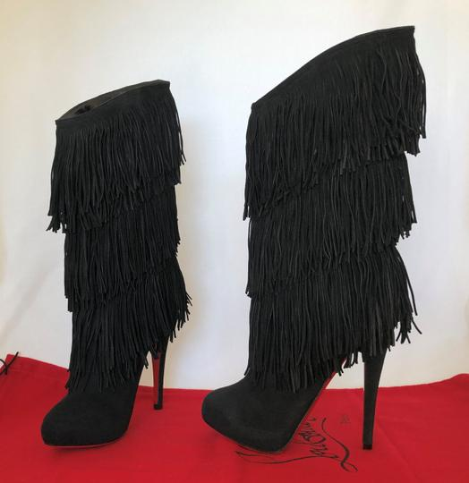 Christian Louboutin High Heels Over Knee Suede Black Boots Image 5