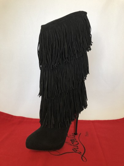 Christian Louboutin High Heels Over Knee Suede Black Boots Image 6