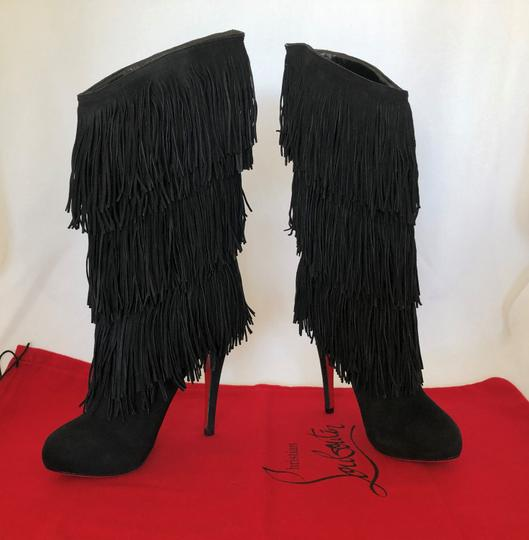 Christian Louboutin High Heels Over Knee Suede Black Boots Image 7