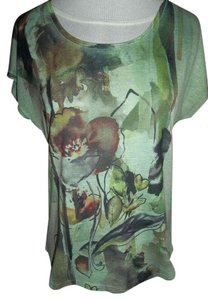 Coldwater Creek Pullover Flower Graphic Sleeve Xsmall T Shirt Green
