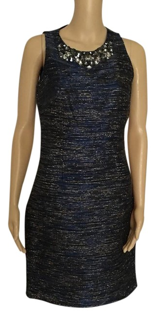 Item - Navy Blue W/ Silver Mid-length Night Out Dress Size 2 (XS)