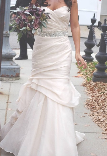 Item - Blush Silk Jacquard Peony Feminine Wedding Dress Size 6 (S)