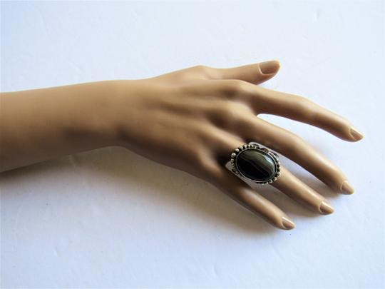 Unbranded Atrisan WOMEN'S CHUNKY OVAL SARD BLACK ONYX CABOCHON.925 STERLING SILVER RING Image 4