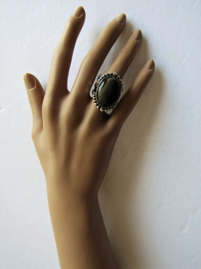 Unbranded Atrisan WOMEN'S CHUNKY OVAL SARD BLACK ONYX CABOCHON.925 STERLING SILVER RING Image 5