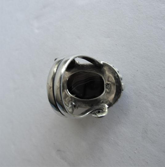Unbranded Atrisan WOMEN'S CHUNKY OVAL SARD BLACK ONYX CABOCHON.925 STERLING SILVER RING Image 8