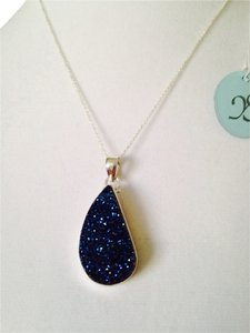 JS Collections Large Blue Drusy In Sterling Silver Necklace