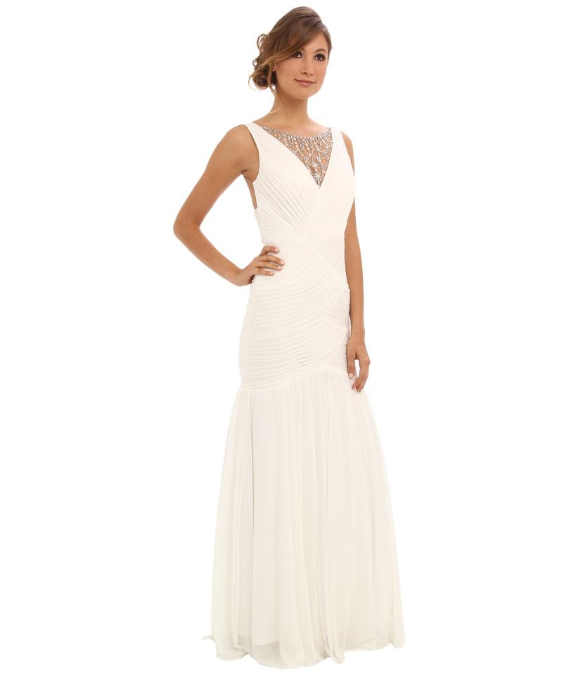 Adrianna Papell Ivory Shirred Jewelry Illusion Gown Long Formal ...