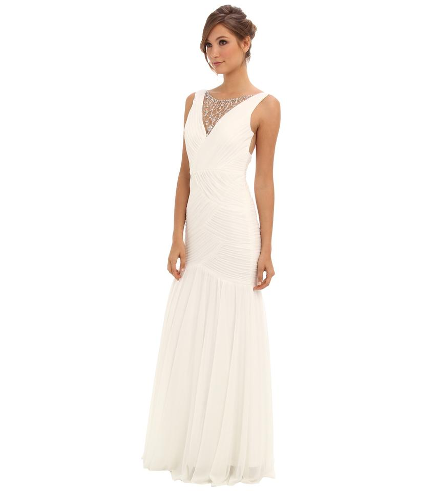 e1eaac91eaccc Adrianna Papell Ivory Shirred Jewelry Illusion Gown Long Formal Dress Size  10 (M) 33% off retail
