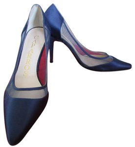 Caparros Silk Stiletto Evening Navy Pumps