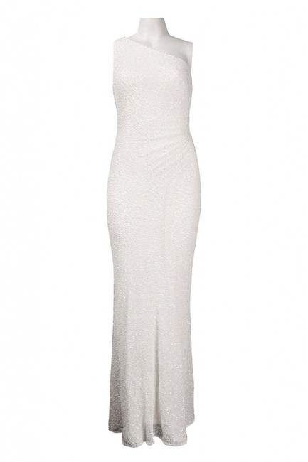 Adrianna Papell Beaded One Shoulder Gown Wedding Dress Image 3