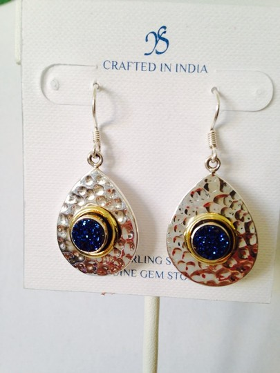JS Collections Blue Drusy In Hammered Sterling Silver & 18kt Gold Earrings